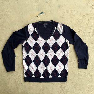 Large Tommy argyle longsleeve v-neck shirt